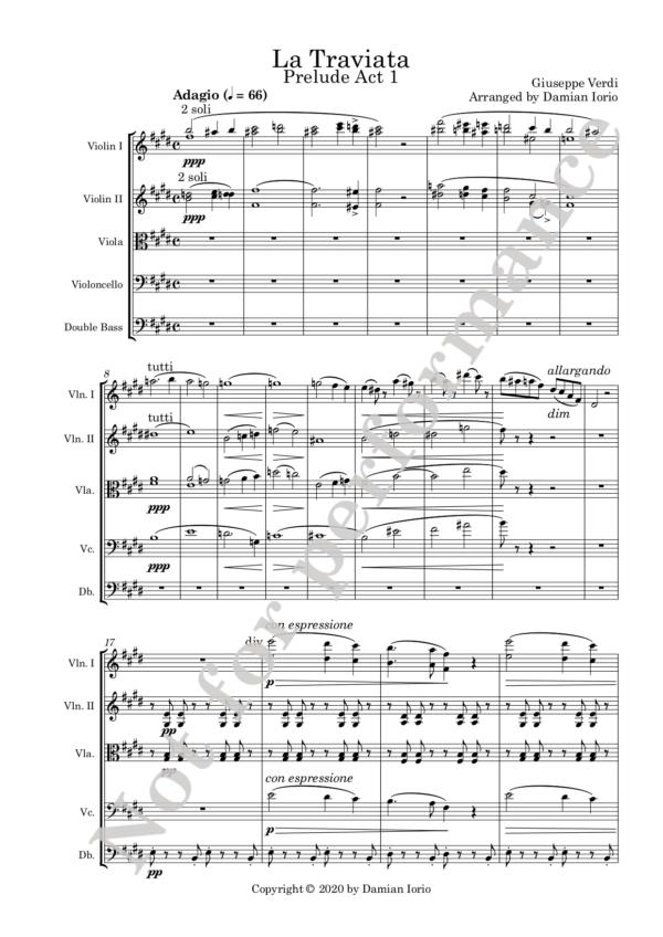 Traviata preludio Act 1 score watermark
