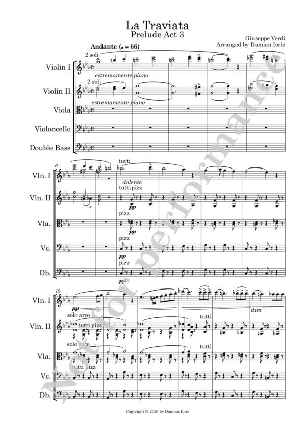 Traviata preludio Act 3 score watermark